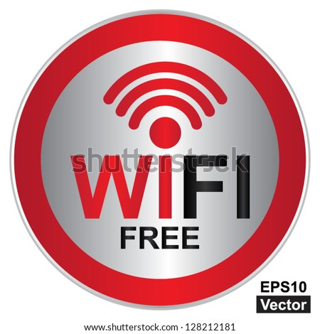 Vector : Wifi Free Sign With Circle Red Glossy Style Icon Isolated on White Background - stock vector