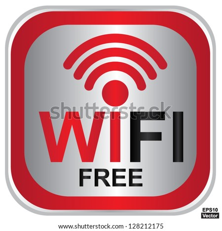 Vector : Wifi Free Sign With Square Red Glossy Style Icon Isolated on White Background - stock vector