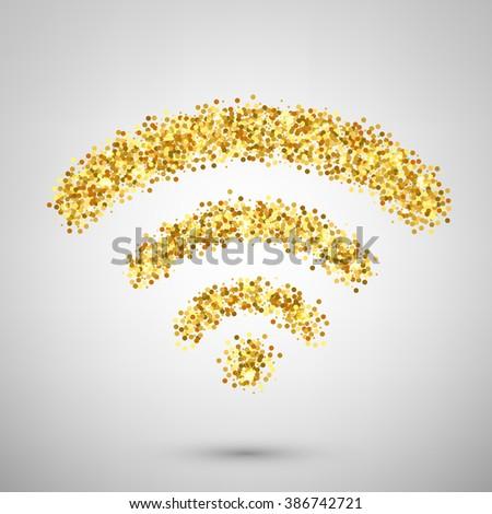 Vector wifi icon. Wifi icon isolated. From gold glitter composed wi-fi icon. Wifi icon isolated. Internet web icon design. Creative concept wifi icon for website. - stock vector