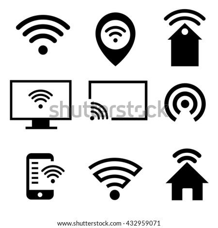 Vector wifi icons set: pc, smartphone, tablet pc, pointer, hotspot, signboard, laptop, speech bubble - stock vector