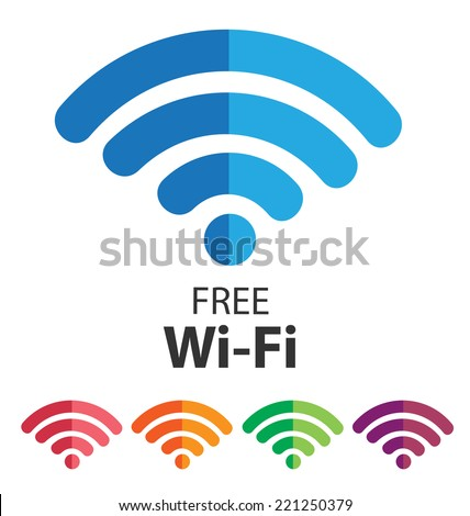 vector wifi symbol, free wifi - stock vector