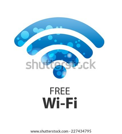 vector wifi symbol, free wifi - stock vector