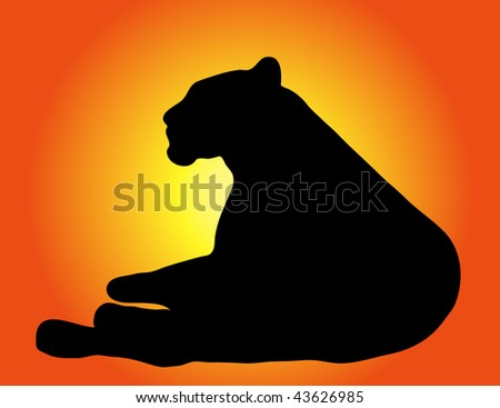 Vector wild cat - stock vector