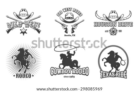 Vector Wild West and Rodeo labels. Cowboy texas, stamp and hat, american retro design. Vector illustration - stock vector