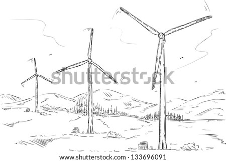 vector - wind farm , isolated on background - stock vector