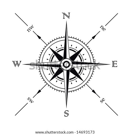 Vector wind rose compass silhouette - stock vector