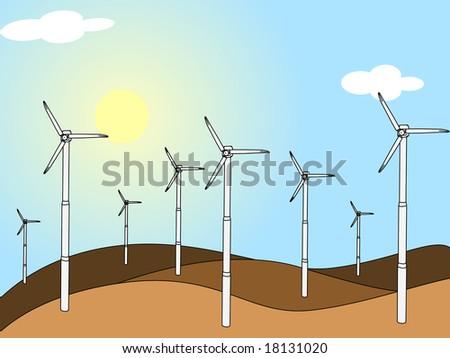 Vector wind turbine - stock vector