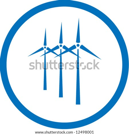Vector wind turbine icon. Blue and white. Simply change. In my portfolio there is version 4 in 1 - stock vector