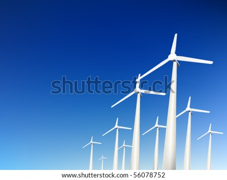vector wind turbines - stock vector