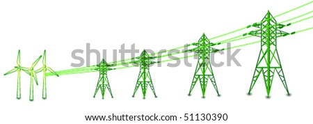 Vector wind turbines with power lines and electric pylons - stock vector