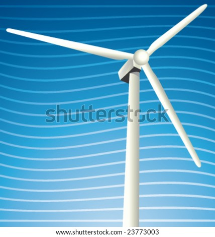 Vector windmill in the wind - stock vector