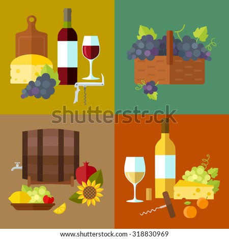 Vector wine banner set with vine, barrel, wine bottle, glass, corks, corkscrew, bunches of grapes, cutting board, cheese and fruits. Flat design.  - stock vector