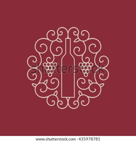 Vector wine emblem. Wine bottle with grapes - stock vector