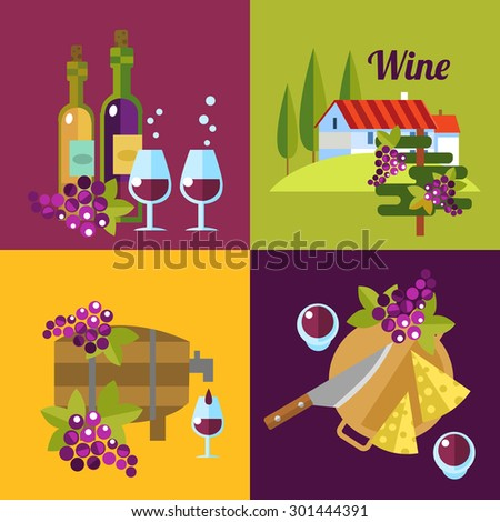 Vector wine icons. 4 illustrations about red and white wine. - stock vector