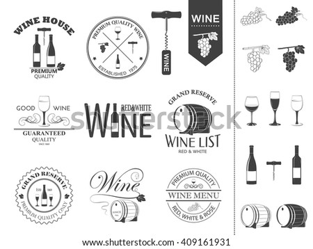 Vector wine labels and icons set.  - stock vector