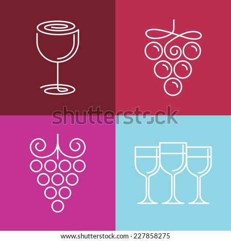 Vector wine line icons and logos - set of outline emblems and design elements for vineyard - stock vector