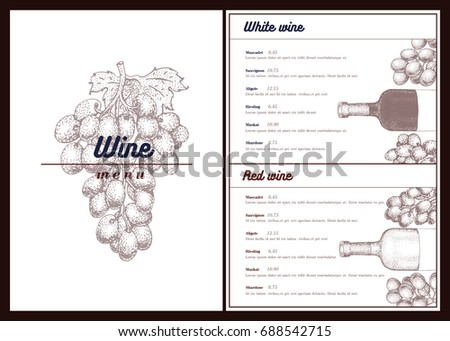 Vector Wine Menu Template Can Be Stock Vector   Shutterstock