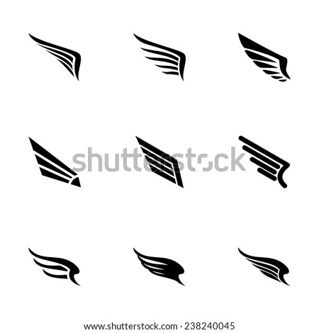 Vector wing icon set on white background - stock vector