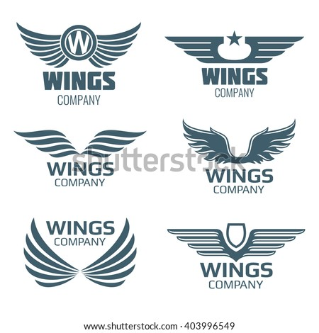 Vector wings logo set. Winged logo company and icon wing flying, eagle wing brand and logotype wing bird illustration - stock vector
