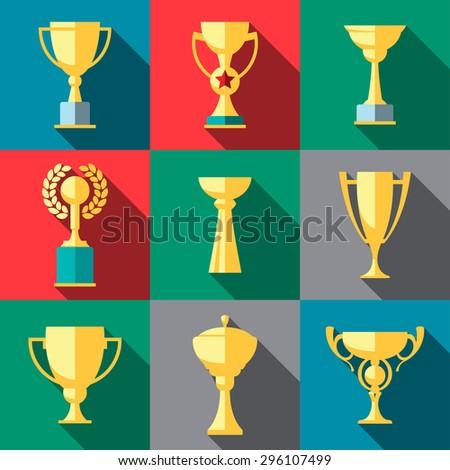 Vector winner cup flat icon set - stock vector