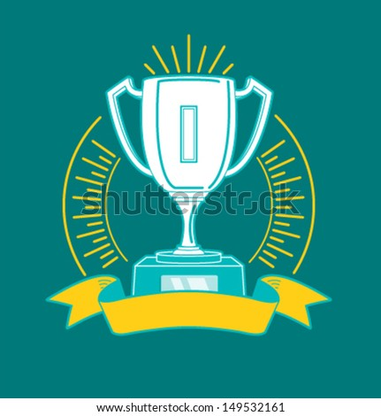 Vector winner cup hipster style - stock vector