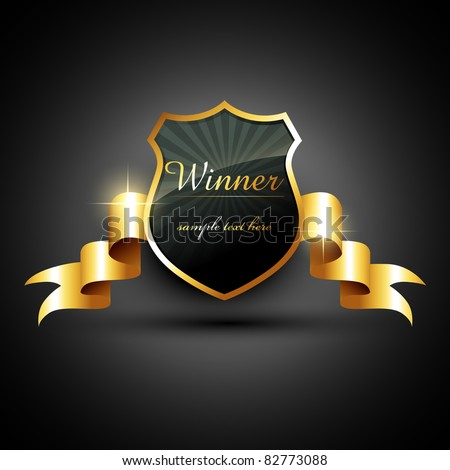 vector winner golden label sign with space for your text - stock vector