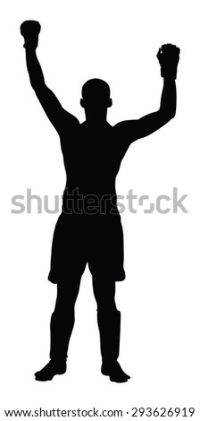 Vector winner in fight sport celebrate a win, isolated on white background.Fighter winner silhouette. - stock vector