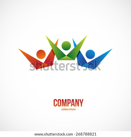 Vector winner people team logo template for business. - stock vector