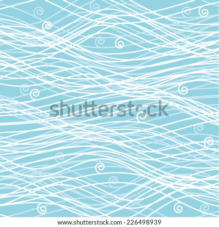 vector winter background pattern of wavy lines with curves - stock vector