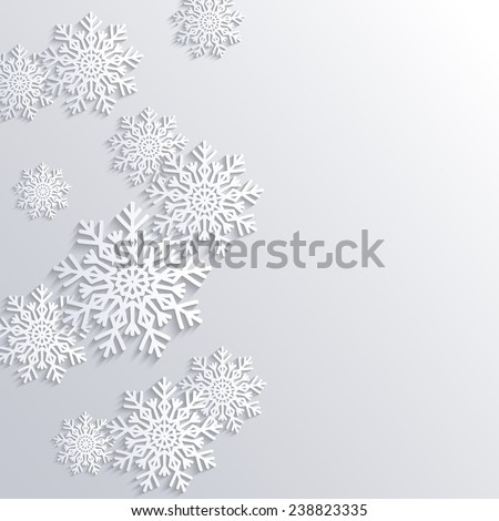 Vector Winter Background with Paper Snowflakes, Christmas and New Year Illustration - stock vector