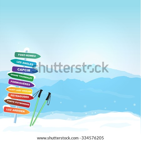 Vector Winter banner with Canigou silhouette - stock vector