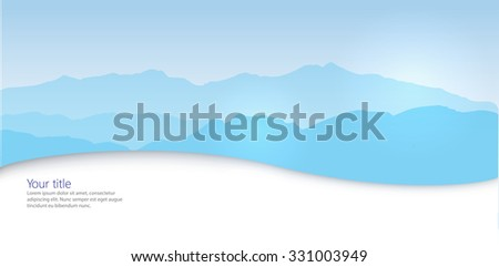 Vector Winter banner with mountains silhouette - stock vector