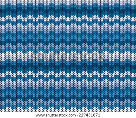 vector winter blue knitted pattern - stock vector