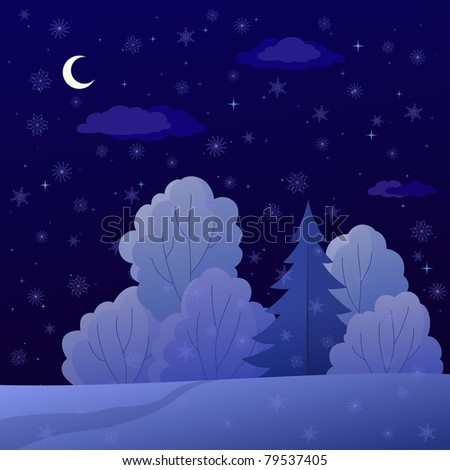Vector, winter christmas landscape: night forest with coniferous and deciduous trees and snow