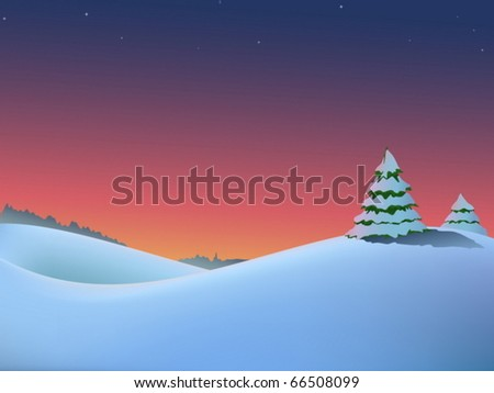Vector winter christmas landscape with fir-trees and red dawn - stock vector
