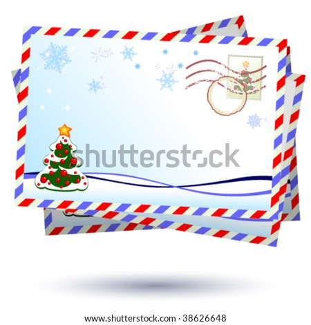 Vector winter envelope - stock vector