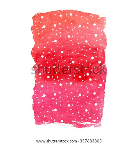 Vector winter holidays background with falling snow. Hand drawn red watercolor paint brush spot. Shape isolated on white background. - stock vector