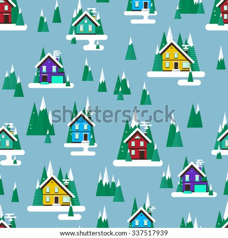 Vector winter landscape.Simple Flat design. Seamless pattern with buildings, trees and snow.
