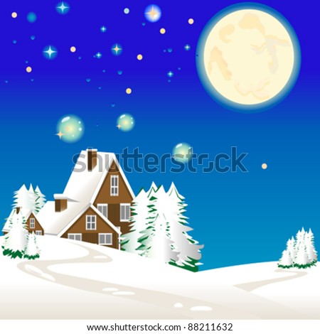 vector winter landscape with chalet - stock vector