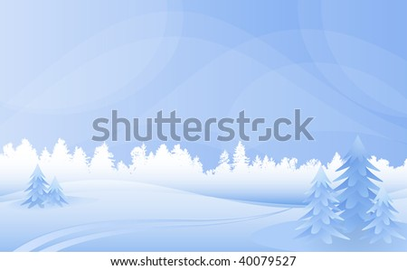 Vector winter landscape with forest and fur-trees.