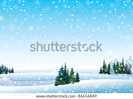 Vector winter landscape with frozen lake, forest and snowfall