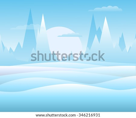 Vector. Winter landscape with high mountains, clouds and snowy hills