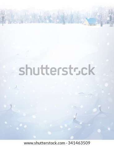 Vector winter landscape with house in forest. - stock vector