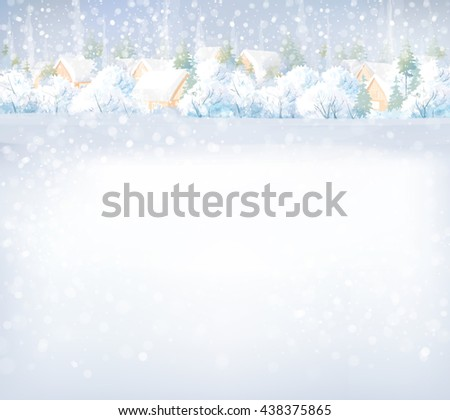 Vector winter landscape with houses and forest background. - stock vector