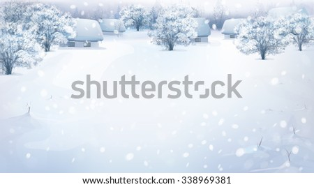 Vector winter landscape with houses in forest. - stock vector