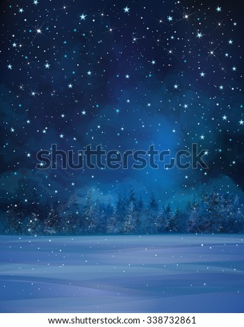 Vector winter night scene, starry sky, snow and forest background. - stock vector