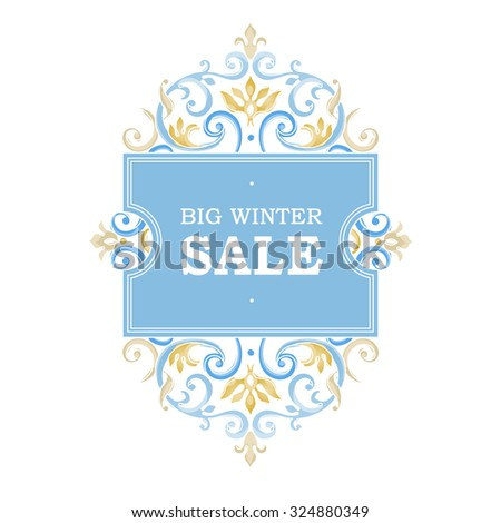 Vector winter sale discount banner in Victorian style. Vintage oriental pastel ornament. Template placard design for sale season. Decorated border for time of sales. Easy to use, layered. - stock vector