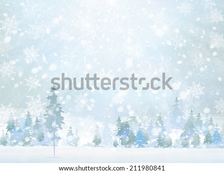 Vector winter scene with forest background. - stock vector