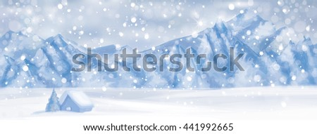 Vector  winter scene with  house at mountain background.  - stock vector