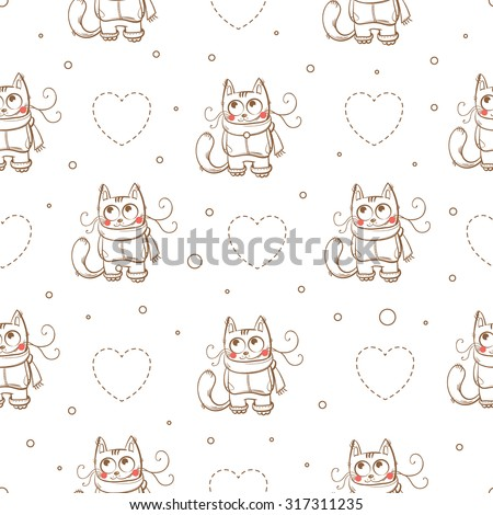 Vector winter seamless pattern with cartoon cats and snowflakes on a white background.